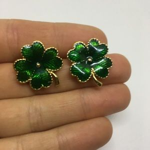 St. Patrick's Day four leaf clover stud earrings